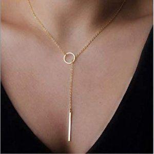 Dainty Open Circle Pendant Gold Choker Necklace